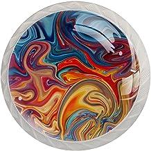 AITAI Het kleurrijke Marmeren Ronde Kabinet Knop 4 Pak trekt Handvatten