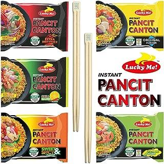 BWS Bamboo Chopsticks (2 Pairs) + Lucky Me! Pancit Canton Assorted - Original, Kalamansi, Chilimansi, Extra Hot Chili, Sweet & Spicy (1 Each)