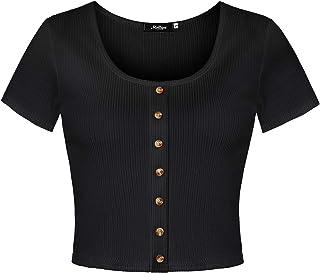 aba9c3df4eee3 Molliya Femme Blouse T-Shirts Manches Courte Col Rond Crop Tops Été