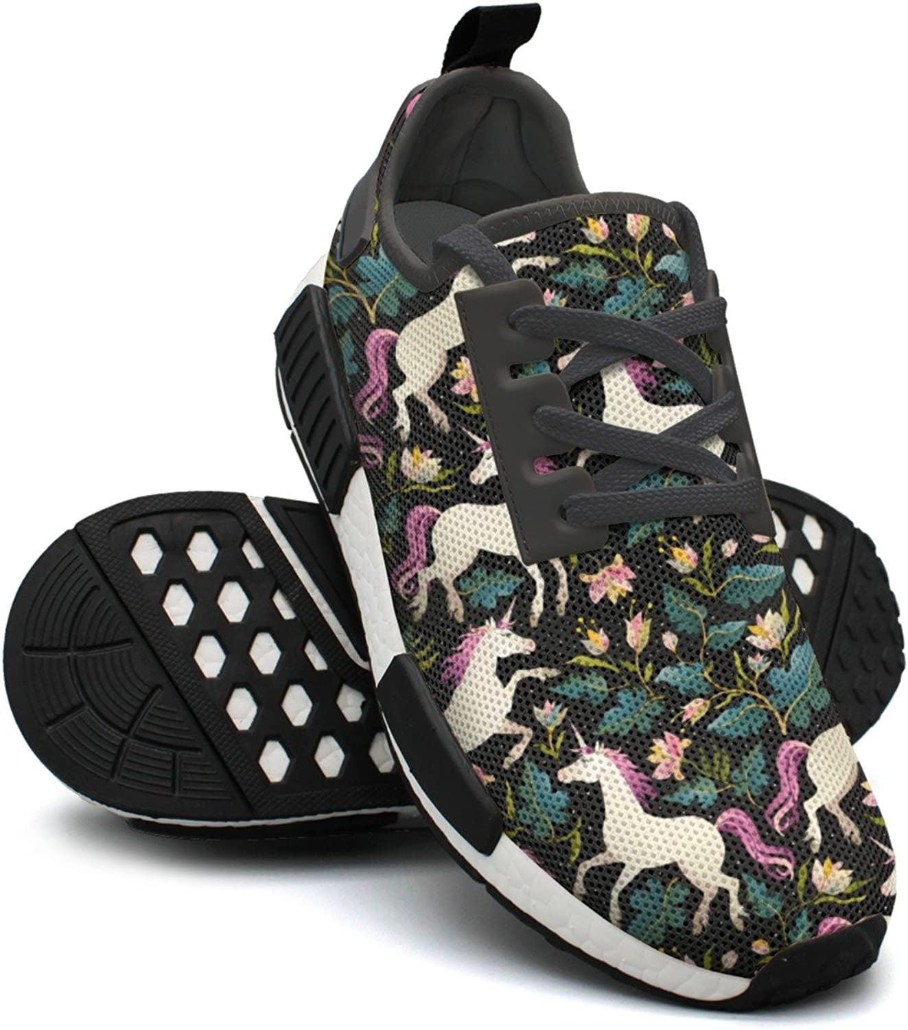 WESER Black Vintage Pink Mama Magic Unicorn Casual Sport Printed Lace-up Running shoes NMD