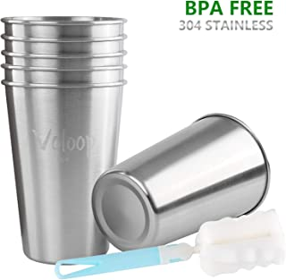 Voloop 6 Pack 16 Ounce Stainless Steel Cups Shatterproof Pint Drinking Cups Metal Drinking Glasses for Kids and Adults(6 Pack, Silver)