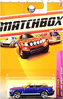 Matchbox 2010 Sports Cars 2007 Ford Mustang Shelby GT500 GT-500 Convertible Vista Blue White Stripes