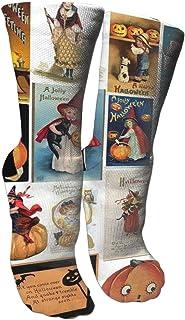 靴下 抗菌防臭 ソックス ハロウィンカードアスレチックスポーツソックス、旅行&フライトソックス、塗装アートファニーソックス30 cmロング靴下