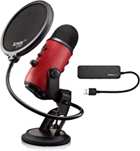 BLUE Microphones Yeti USB Microphone (Satin Red) with Knox Gear Pop Filter and 3.0 4 Port USB Hub Bundle
