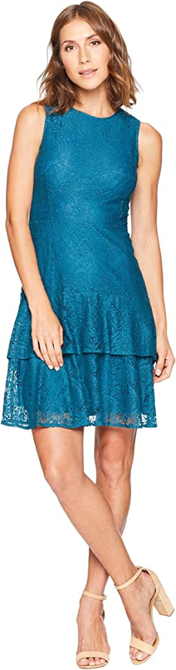 Sleeveless Lace Double Flounce Dress