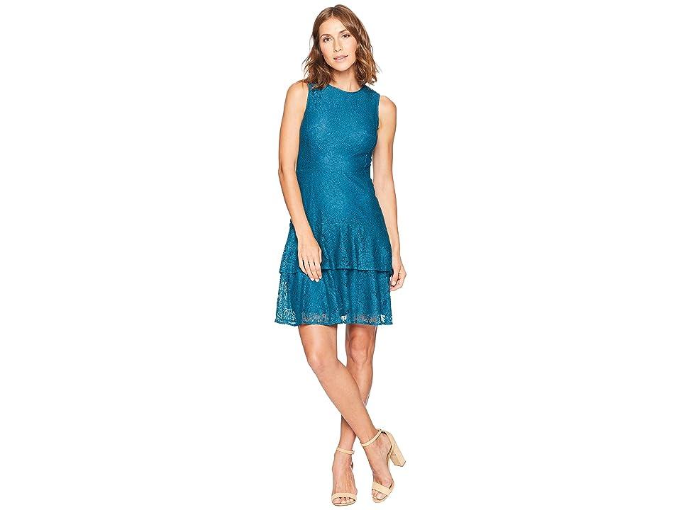 MICHAEL Michael Kors Sleeveless Lace Double Flounce Dress (Luxe Teal) Women