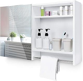 Yorbay Armoire de Toilettes, Armoire Murale avec Miroir, Meuble à Miroir de Salle de Bain avec Étagères de Rangement, étag...