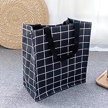 Cxjff Collapsible Laundry Hamper Folding Large Hamper Waterproof And Moisture-Proof Storage Bag-White Plaid (Color : Black)