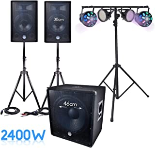 PACK SONO 2400W DJ complet BM SONIC SUB 46cm + 2 FLASH PAR LED + 2 Jeux DOUE