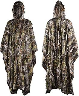 LOOGU Hunting Blinds, Outdoor Camouflage Ghillie Poncho Camo Suit Military Leaf Hunting and Shooting Accessories Tactical Gear Clothing for Airsoft, Wildlife Photography Halloween or Christmas