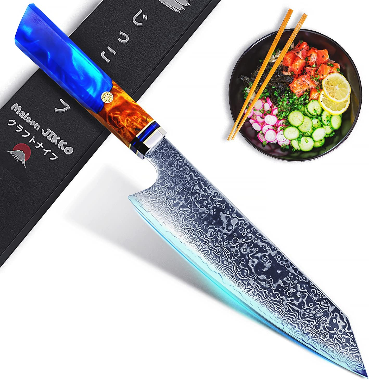Jikko New Premium Japanese Kitchen Ranking TOP6 Knife Damascus Inch with Super popular specialty store 13