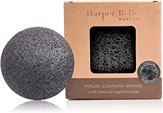 Harper Belle Beauty Organic Konjac Facial & Body Cleansing Sponge | Natural & Gentle Exfoliant | Bamboo Charcoal for Oily & Acne-Prone Skin