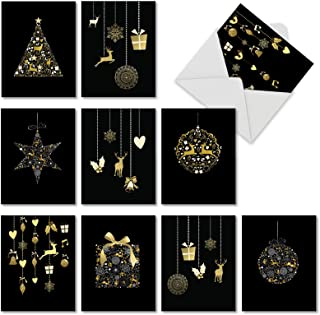 The Best Card Company - Golden Holidays - 10 Assorted Blank Christmas Note Cards with Envelopes (Not Foil) (4 x 5.12 Inch) M6723XSB