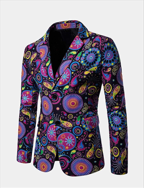 DZHT Mens Fashion Print Blazer Casual Male Slim Fit Suit Jacket (Color : As Shown, Size : Large)