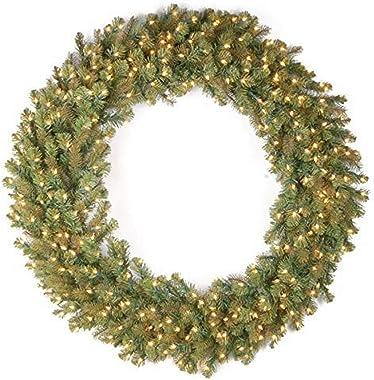 "National Tree 60""""Feel-Real Downswept Douglas Fir Wreath with 300 Warm White LED Lights"