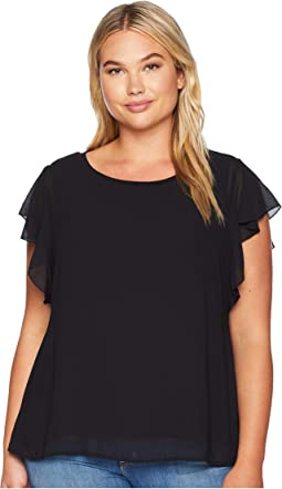 Plus Size Haley Flutter Mixed Media Top