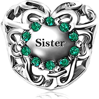 JMQJewelry Sister Heart Love Birthstone Jan-Dec Charms Beads for Snake Chain Bracelets