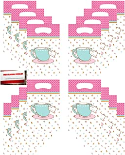 TeaTime Tea Party (16 Pack) Party Plastic Loot Treat Candy Favor Bags (Plus Party Planning Checklist by Mikes Super Store)