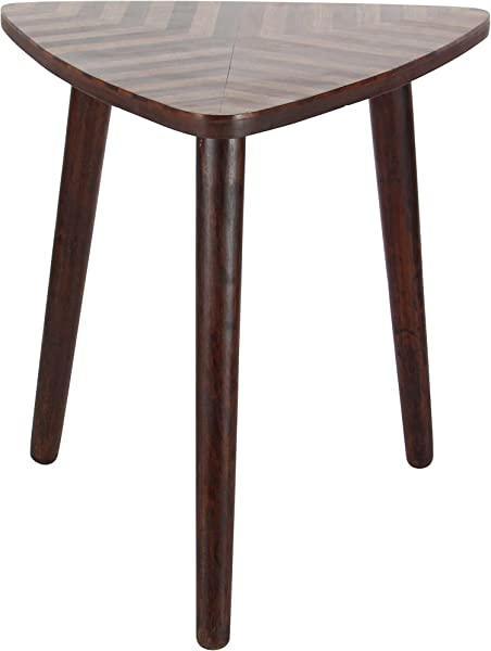 Deco 79 Wood Triangle Table Dark Brown
