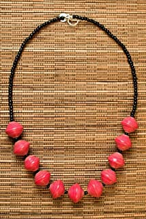 Paper Bead Chunky Asali Necklace - Pink - Fair Trade BeadforLife Jewelry from Africa