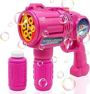 CREFUN Ultimate Bubble Gun Bubble Blaster – Red SB9311 Light Up Bubble Blower Safe Durable Simple Handheld Bubble Machine Bubble Toys for Kids Party Favor Birthday Wedding Including 2 Bubble Solution