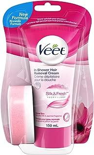 Veet In-Shower Hair Removal Cream Normal Skin, 5.1-Ounce Bottle (Pack of 2)