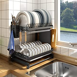 GUOOK Stainless Steel Dish Drain Drying Rack with Cutting Board Bracket 3 Layers Cutlery Rack Large Capacity Tool,Compact Modern Kitchen Countertop, Sink Dish Drying Rack, Removable Cutlery Tray