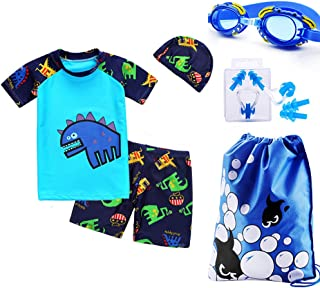 ALsmiley Kid Boys' 6-Pieces Short Sleeve Rash Guard Swimsuit Set with Goggles,Nose Clip,Earplugs for Boys UPF 50+ 3-8y