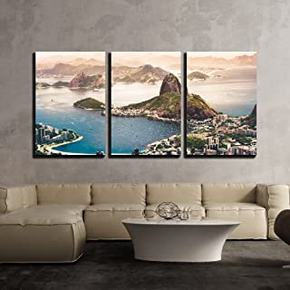 wall26 - 3 Piece Canvas Wall Art - Sugarloaf Mountain in Rio De Janeiro, Brazil - Modern Home Decor Stretched and Framed Ready to Hang - 24