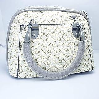 Women's handbag is white and gray