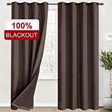 Rose Home Fashion 100% Blackout Curtains for Living Room, Linen Curtain Natural Look Drapes Room Darkening Thermal Insulated Grommet Window Curtains for Bedroom-2 Panels (50x84 Chocolate)