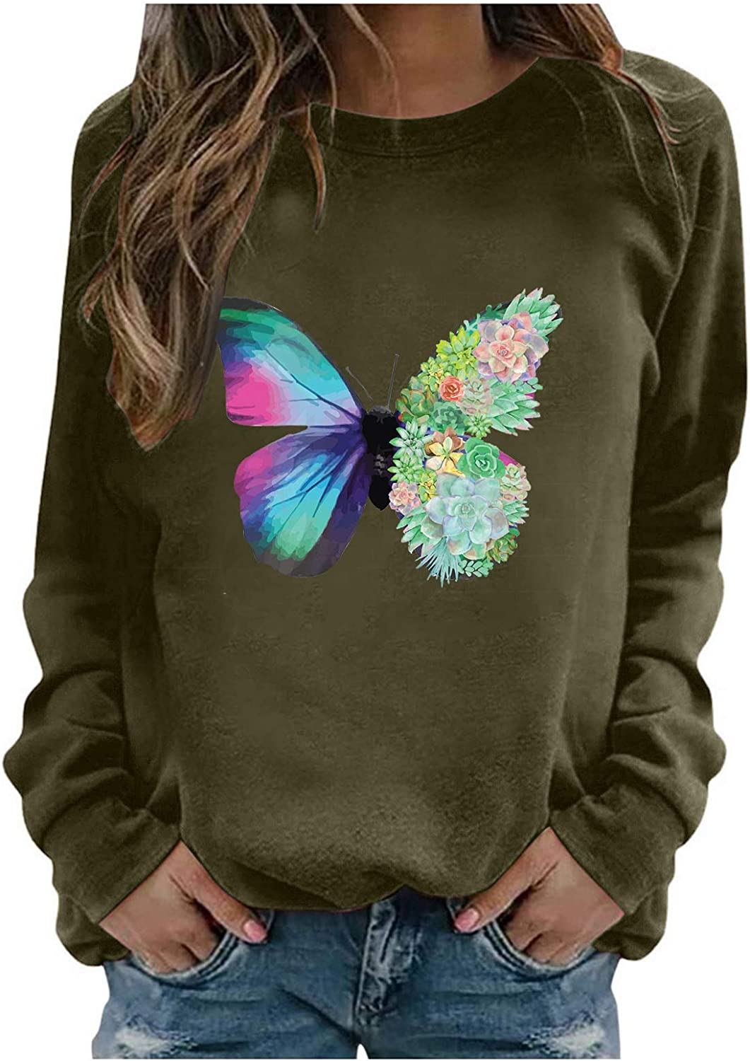 Oversized Sweatshirts for Women Vintage Butterfly Print Fashion Casual Long Sleeve Pullover Sweatshirt Tops Blouse