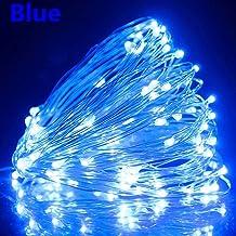 20M 200 lámparas led alambre cobre solar, luces hilo impermeables al aire libre, linternas decorativas para césped-Blu-ray_20M 200 luces