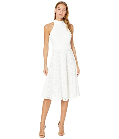 Tahari by ASL Mock Neck Dress with Flare Skirt (Ivory Daisy Lace) Women