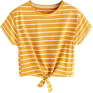 Women's Knot Front Cuffed Sleeve Striped Crop Top Tee...
