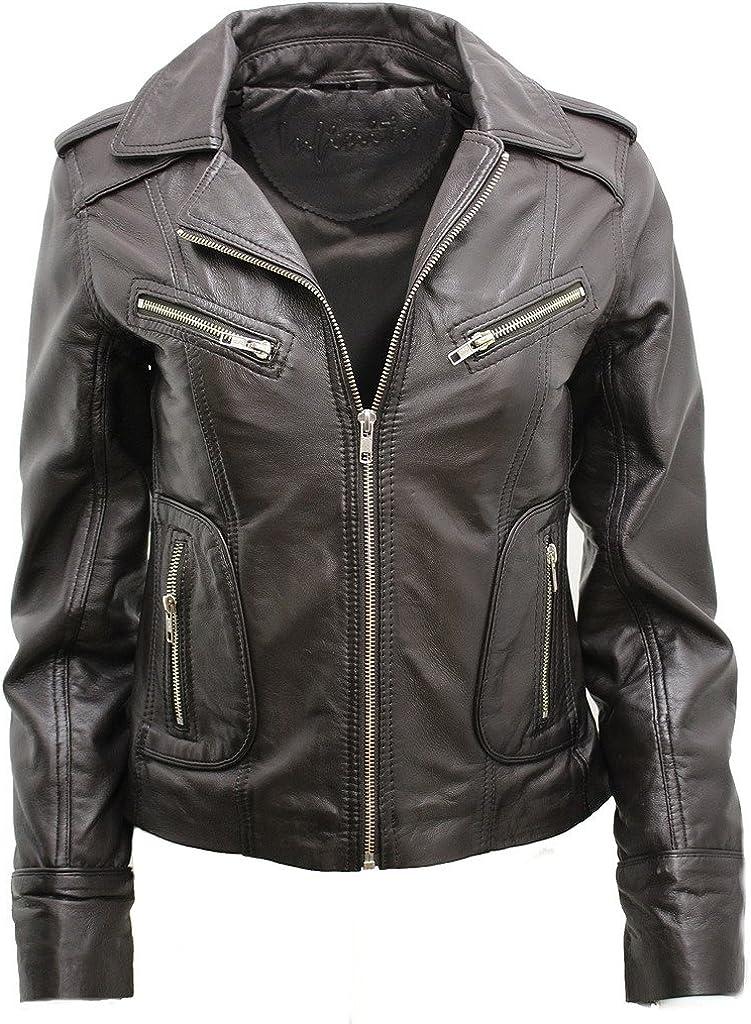 Ladies Casual Brown Lamb Nappa Leather Biker Jacket