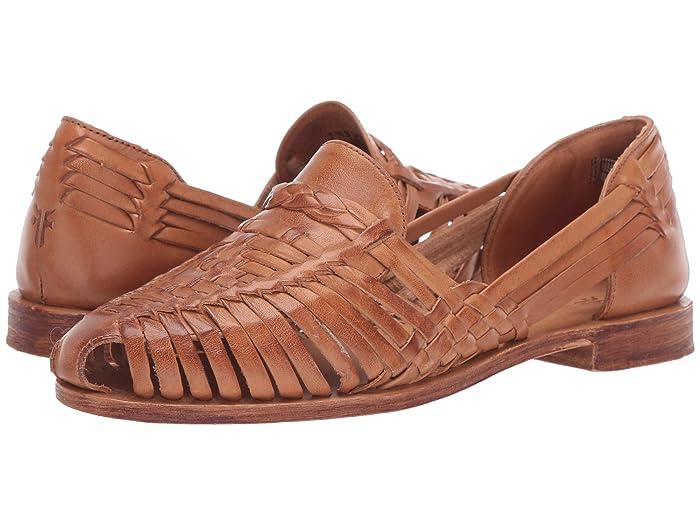 Vintage Sandal History: Retro 1920s to 1970s Sandals Frye Heather Huarache Camel Womens Flat Shoes $104.93 AT vintagedancer.com
