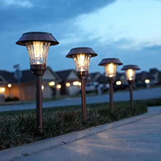 Copper Metal Solar Path Lights, Set of 4 Pathway Landscape Lighting, Warm White LEDs, Rechargeable, Waterproof