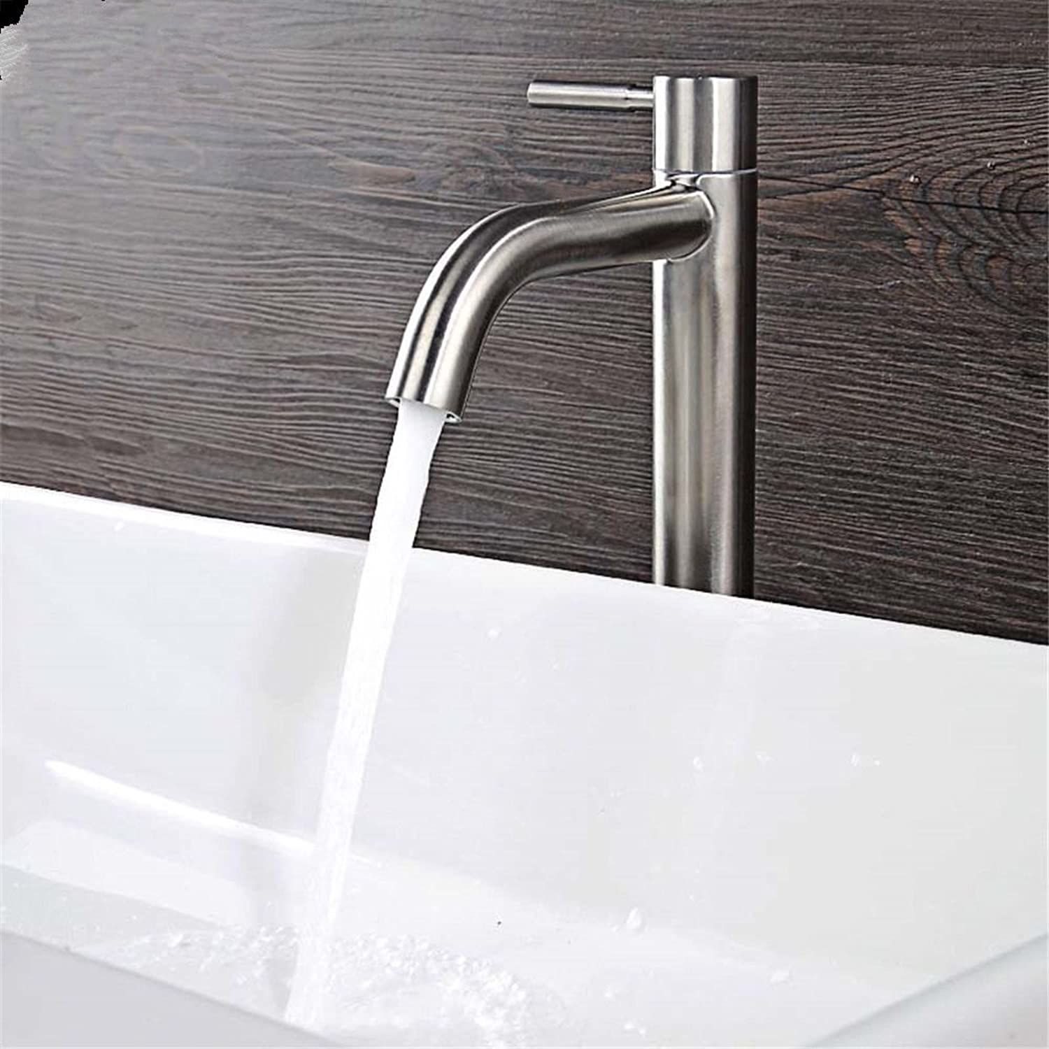 Hlluya Professional Sink Mixer Tap Kitchen Faucet Stainless steel single cold basin faucet basin wash basin mixer single hole cold-water faucet, surface