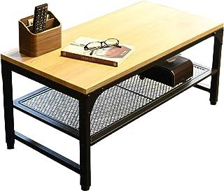 [山善] ローテーブル (メッシュ棚付き) 幅78.5×奥行41×高さ37.5cm (棚板4段階調節/アジャスター付き) ヴィンテージ風 オーク/サンドブラック VMCT-8040(OAK/SBK