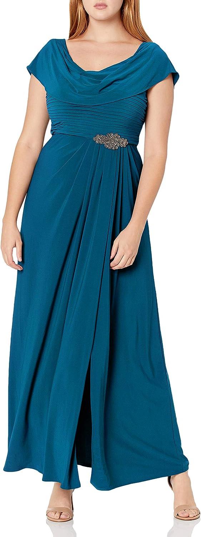 Vintage Evening Dresses, Vintage Formal Dresses Alex Evenings Womens Long Cowl Neck A-line Dress  AT vintagedancer.com