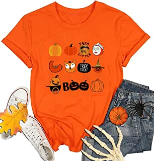 Heralady Halloween Shirt Women Short Sleeve Novelty Graphic Funny Pumpkin Costumes Holiday Party Tee Tops