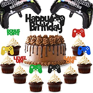 Cupcake Toppers Video Game Happy Birthday Centerpiece,Gamer Birthday Party Decorations INSTANT DOWNLOAD Gaming Party Printable Cake Topper