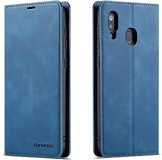 QLTYPRI Hülle für Samsung Galaxy A40, Premium Dünne Ledertasche Handyhülle mit Kartenfach Ständer Flip Schutzhülle Kompatibel mit Samsung Galaxy A40   Blau
