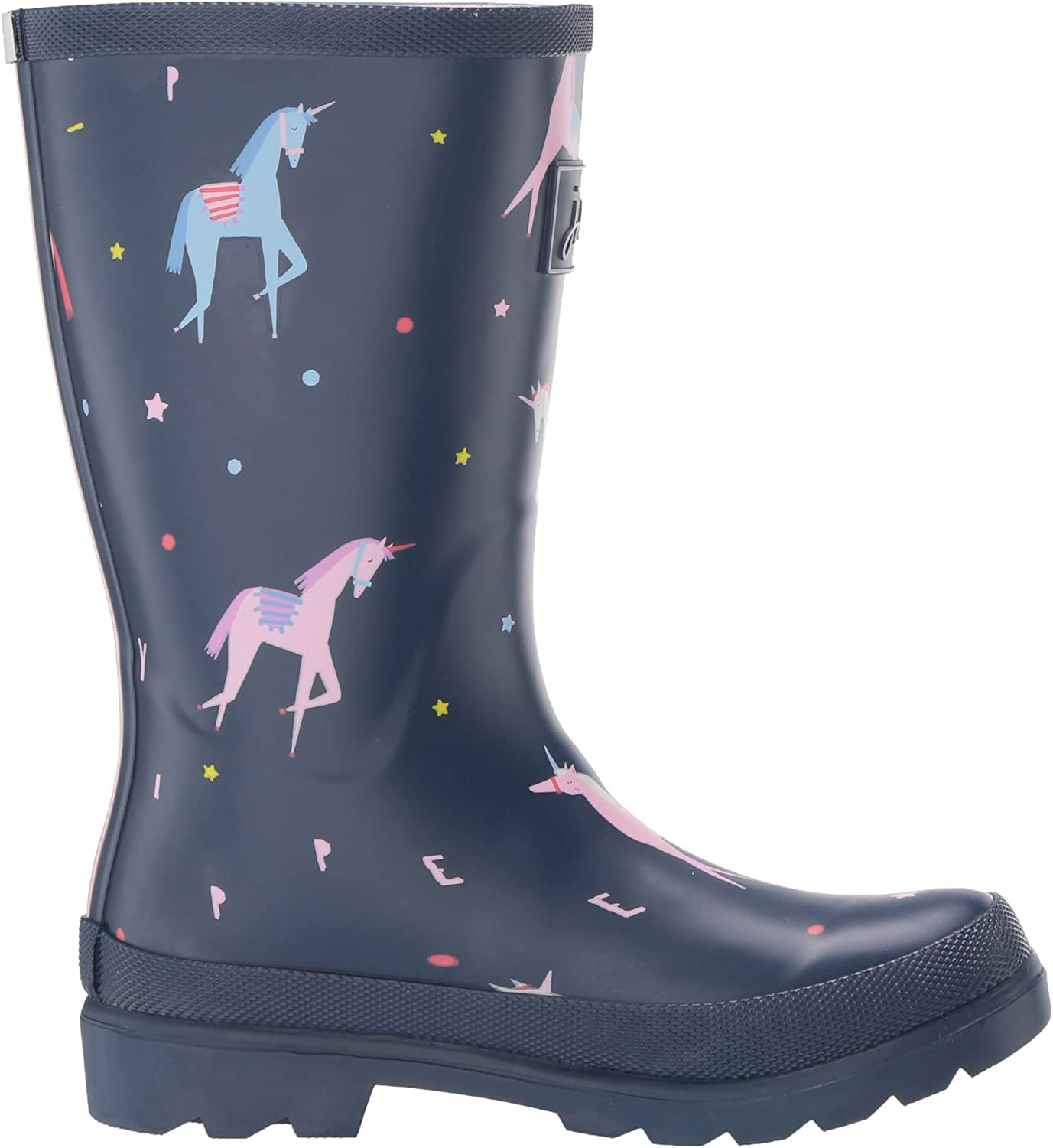 Blue Confetti Floral Joules Girls JNR Welly Print Rain Boot