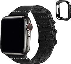 Fullmosa Correa de Apple Watch, Pulsera 38 mm 40 mm 42 mm 44 mm, Correa de Cuero NATO para iWatch SE, Series 6/5/4/3/2/1, Negro 38mm/40mm