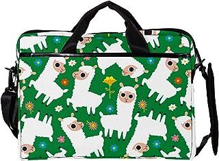 engshizilvbaihuo Unisex Laptoptasche, für Computer / Tablet, leicht, Segeltuch, Reisetasche, 33,4�,7 cm mit Schnallen, abstraktes Grün / Orange