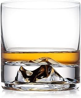Everest Whiskey Glasses Set of 2, Bourbon Glasses, Scotch Glasses, Ultra Clear Whisky Tumblers, Unique Liquor Glass, Premium Rocks Glass Set