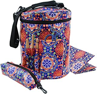 Durable Knitting Bag with Inner Divider Yarn Storage Tote Organizer with Slits on Top to Prevent Tangling, Knitting Needles and Crochet Hooks, Waterproof Coated Mother's Day Gift (Mandala)