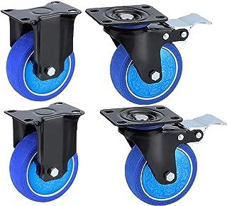 YJJT Wielmeubilair - Rubber wiel, uitgerust met precisie dubbele lagers en stofdekking, stil draaien, belasting 100kg per ...